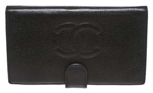 Chanel Chanel Black Caviar Leather French Purse Wallet