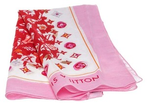 Louis Vuitton Louis Vuitton Pink and Red Monogrammed Scarf