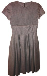Brooks Brothers Houndstooth Wool A-line Pleated Checked Dress