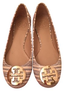 Tory Burch Reva Striped Gold Logo Cream w/navy stripes Flats