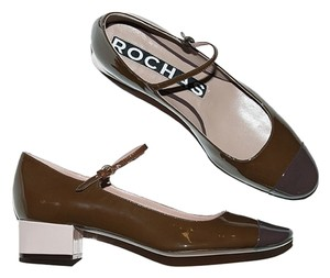 Rochas Mary Jane Cap Toe burgundy Flats