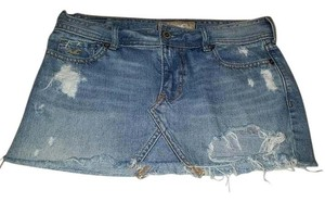 Hollister Ripped Distressed Denim Mini Mini Skirt jean