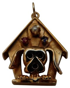 Vintage 14K Yellow Gold Ruby Sapphire Pearl DogHouse w/Dog Pendant Hand Crafted