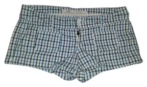 Hollister Mini Plaid Checkered White Mini/Short Shorts blue