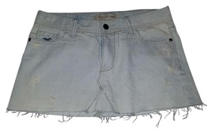Hollister Light Denim Mini Short Jean Mini Skirt light blue