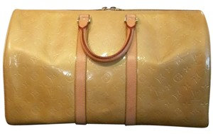 Louis Vuitton Travel Luggage Patent Leather Keepall yellow Travel Bag