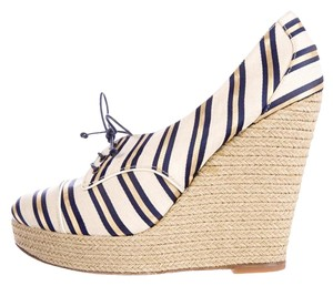 Tabitha Simmons natural and blue Wedges