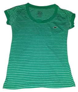Lacoste Striped Gree Alligator T Shirt green