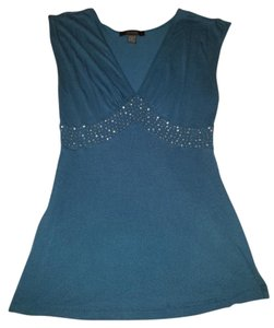 Express Cleavage Sequin Flowy T Shirt Blue