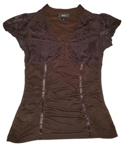 BCX Lace Stretchy Cleavage Top brown