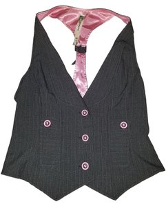 Anchor Blue Silk Vest Work Button Up Top pink grey