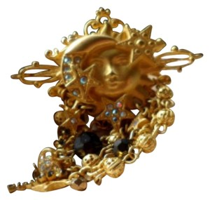 Kirks Folly KIRKS FOLLY BROOCH Signed, Rare 14Kt Gold Plate- Sun, Moon, Stars, Aurora Borealis Crystals
