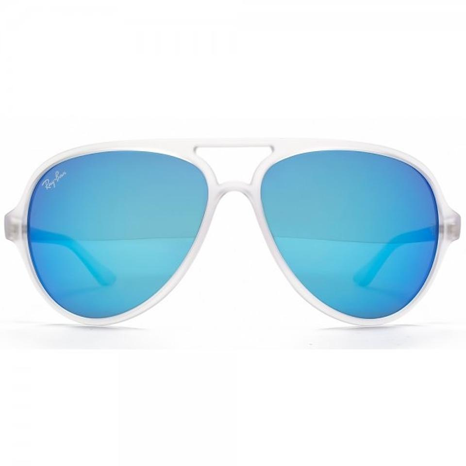 be5acc35977 Ray-Ban Crystal Blue Aviator Cats 5000 Mirror Lens Rb 4125 W Case Sunglasses  - Tradesy