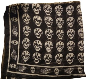 Skull Rose Flower Linen Black White Square Scarf floral