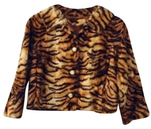 What Goes Around Comes Around Fur Cropped Faux Tiger Print Leather Jacket