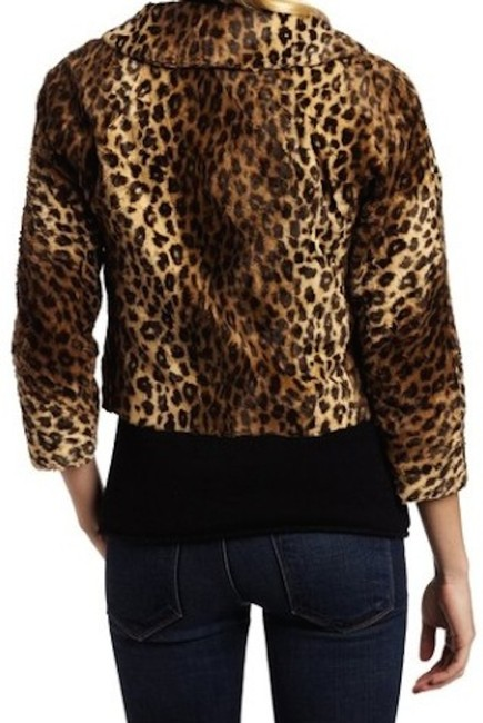 What Goes Around Comes Around Fur Cropped Vintage Look Faux Tiger Print Leather Jacket