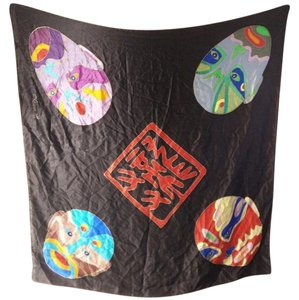 Mask Kabuki Face Wrestler Chenya Black Silk Square Scarf