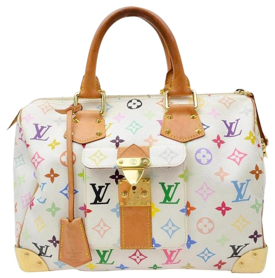 c92a3f54b7cb Louis Vuitton Speedy 30 M92643 Murakami with Proof Of Lv Dustbag and  Clochette (Key) White Monogram Multicolore Canvas Satchel