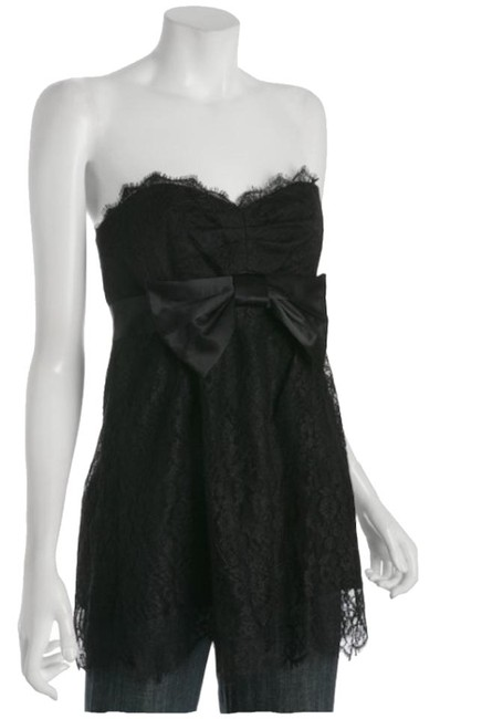Rebecca Taylor Strapless Floral Lace Empire Waist Romantic Modern Top Black