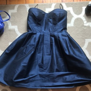 Donna Morgan Navy Polyester Strapless Formal Bridesmaid/Mob Dress Size 8 (M)