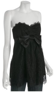 Rebecca Taylor Floral Lace Modern Romance Strapless Empire Waist Top Black