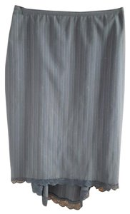 Lord & Taylor Lace Trim Pinstripe Lined Skirt Black