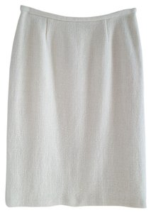 GERARD DAREL Wool Alpaca Kick Pleat Textured Skirt Winter White