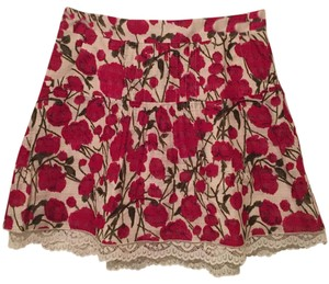 Anthropologie Skirt Red, cream
