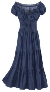 Blue Denim Maxi Dress by The Pyramid Collection Tiered Peasant