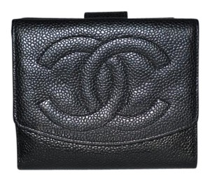 Chanel Authentic Chanel Caviar Leather Bifold Wallet Black Card Box