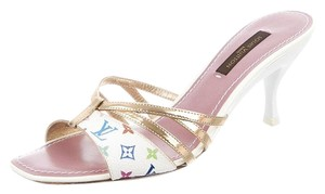 Louis Vuitton Gold Hardware Lv Monogram Peep Toe Monogram Lv White, Multicolor Sandals