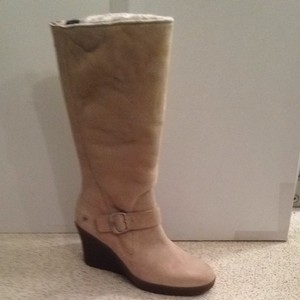 UGG Boots Wedge Boot Buckle Detail Beige Boots