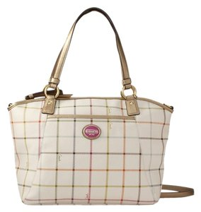 Coach Creed Leather Hangtag Tattersall Design Tote in Multi-color