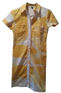 Ellen Tracy short dress Yellow Work Button Up White Shirt on Tradesy