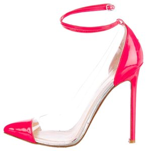 Christian Louboutin Patent Leather Ankle Strap Pointed Toe Pvc Bis Un Bout Pink, Clear Pumps