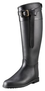 Burberry Rainboot Riding Boot Tall Black Boots