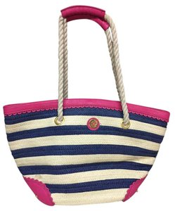 Mudpie Navy, creme, and hot pink Beach Bag