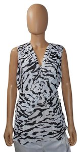Other Zebra Print And Sleeveless Knotted Twist Front Top Black & White