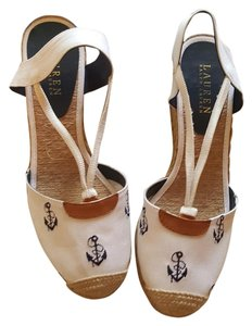Ralph Lauren White and Navy blue Wedges