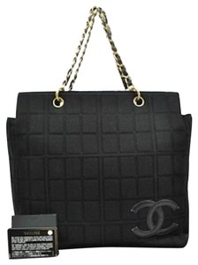Chanel Leather Canvas Unique Style Tote in Black