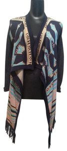 Say What? Pink Tan Aqua Fringe Cardi Cardigan