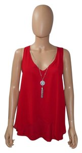 IZ Byer California Sleeveless Necklace Top Red