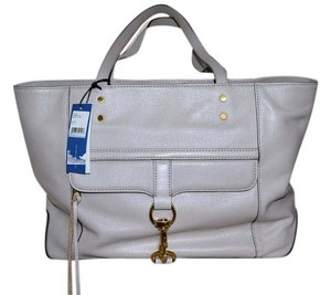 Rebecca Minkoff Mac Leather Satchel Executive Tote in PUTTY (light lavender gray)