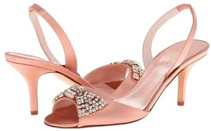 Kate Spade Satin Crystal Slingback Leather Dusty Pink Sandals
