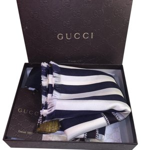 Gucci Gucci Scarf Since 1921 Anchor Stripes Navy