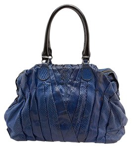 Valentino Maison Python Patent Leather Tote in Blue