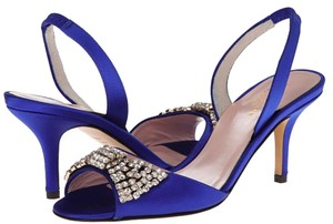 Kate Spade Satin Crystal Slingback Blue Formal