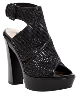 Pour La Victoire Leather Woven Platform Crisscross Strap Open Toe Black Sandals