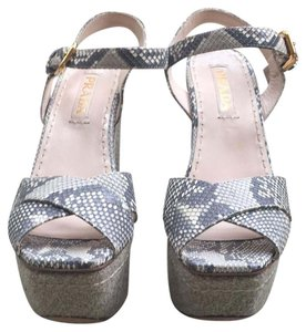 Prada Snake beige and gray Wedges