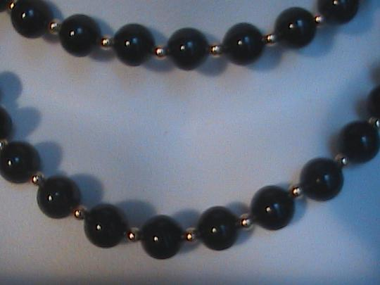 Vintage 14k Yellow Gold Beads Black Onyx Necklace & Earrings Set